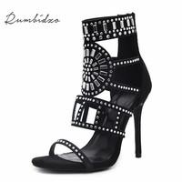 Rumbidzo Women Pumps 2018 Sping Summer Peep Toe High Heels Hollow Gladiator Thin Heel Rhinestone Crystal