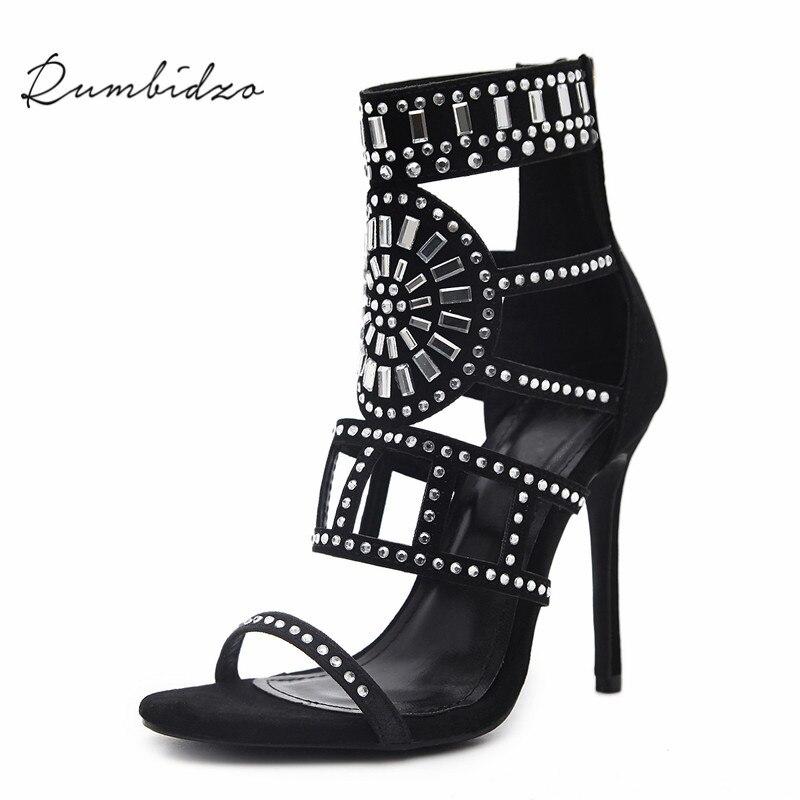 acef69a036f Rumbidzo Women Pumps 2018 Sping Summer Peep Toe High Heels Hollow Gladiator  Thin Heel Rhinestone Crystal Party Shoes Woman