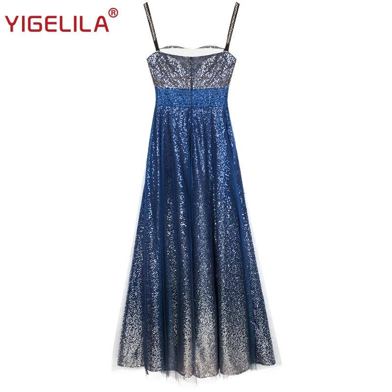 Backless 63389 Robe Tenue Yigelila Étage Paillettes Long Strap Mode De Printemps Empire Bleu Spaghetti 2019 Fête Slim Femmes Sexy Longueur XUUPpwq4x