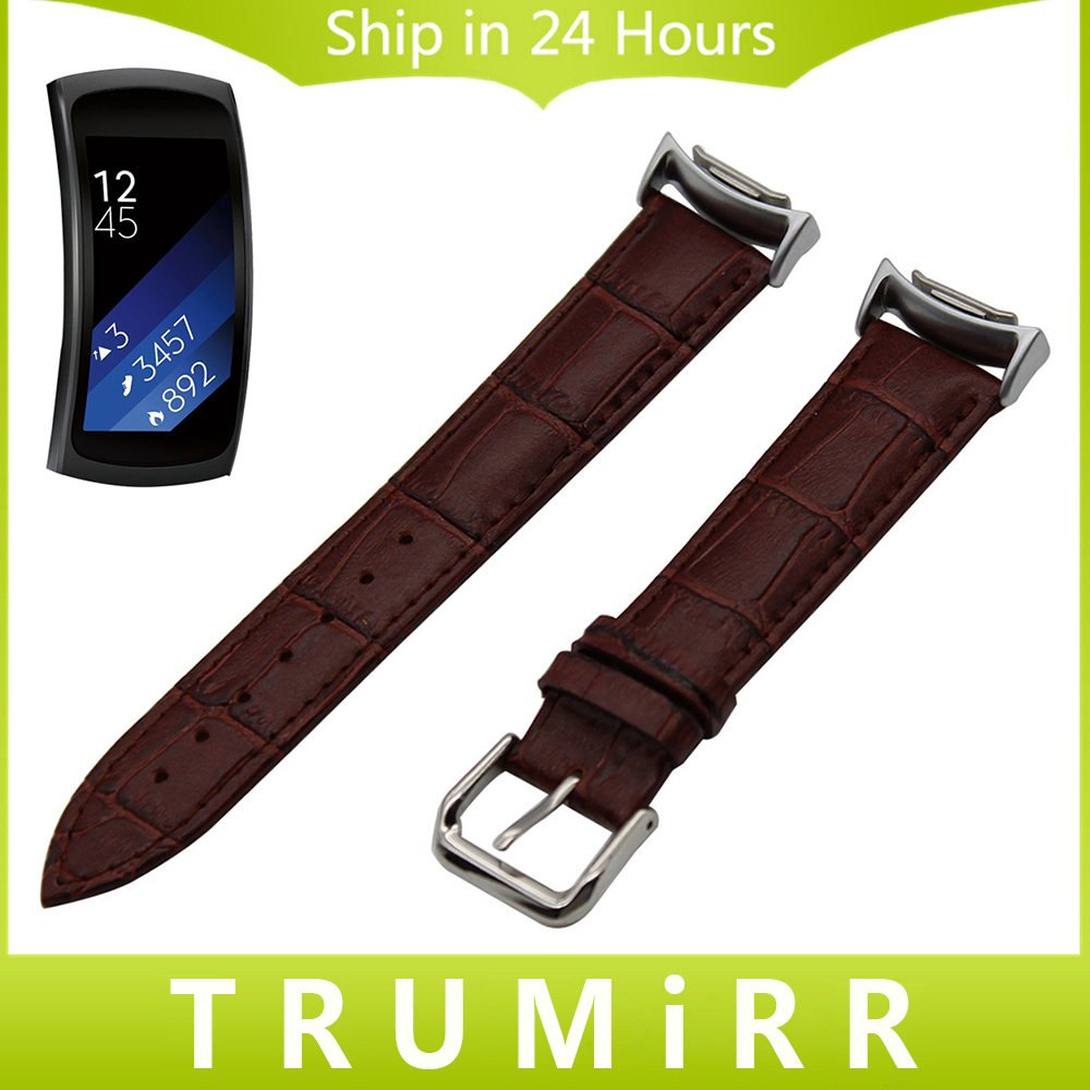 Calf Genuine Leather Watchband for Samsung Gear Fit 2 SM-R360 Watch Band Croco Strap Wrist Belt Bracelet Black Brown Red White samsung ep yb360bbrgru black док станция для gear fit 2