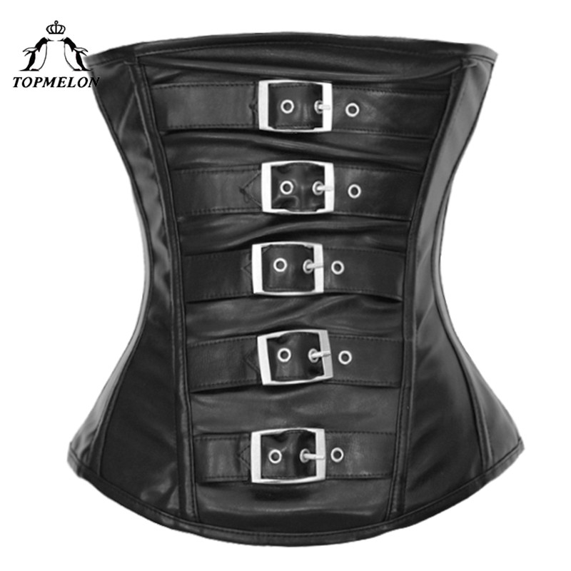 TOPMELON Gothic Leather   Bustier   Tops for Women Underbust   Corset   Buttons Decorated Black Brown Plus Size Punk Style Clothing