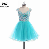 Elegant 2018 Short Graduation Homecoming Dresses V Neck Appliques Beaded Wedding Party Dress Prom Gown Homecoming Cocktail Dress