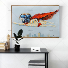 Modern Canvas Wall art Decor handpainted Abstract Oil Painting fly superman oil Art for Home
