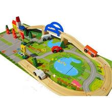 цена 40 pcs, free shipping, the wooden rail intersection, traffic scene building blocks, building urban railway track онлайн в 2017 году