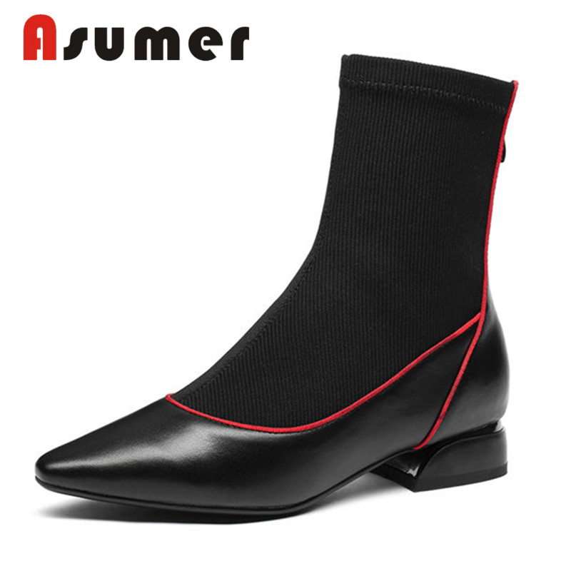 ASUMER HOT SALE 2018 fashion mixed colors ankle boots for women pointed toe winter boots high quality zip genuine leather bootsASUMER HOT SALE 2018 fashion mixed colors ankle boots for women pointed toe winter boots high quality zip genuine leather boots