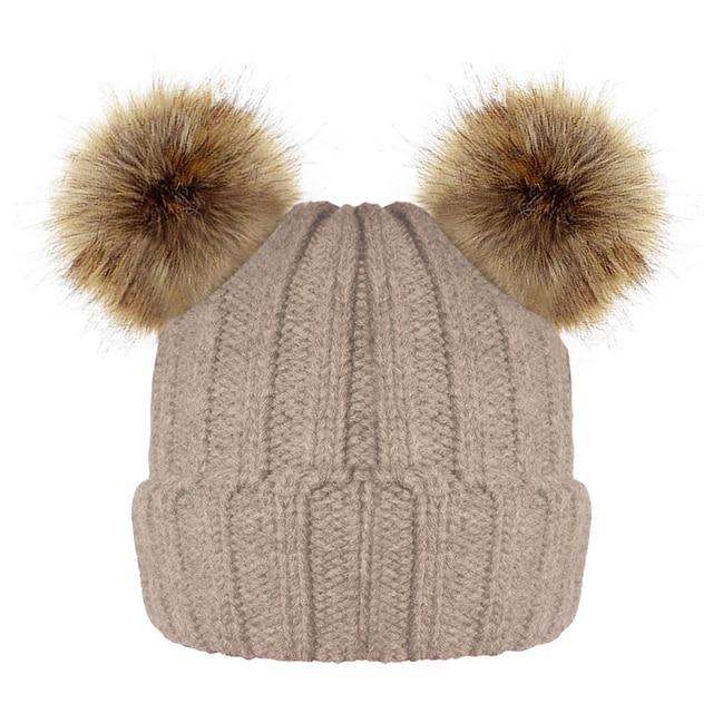 Winter Baby Faux Fur Double Pom Pom Enfant Beanie Girl Boy Warm Hat For Kids  Bonnet 92b77310b5b8