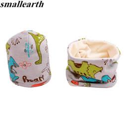 2 шт./компл. Плюшевые печати детский набор из шапки и шарфа детская крючком хлопок шапки весна зима обувь для девочек мальчиков детские