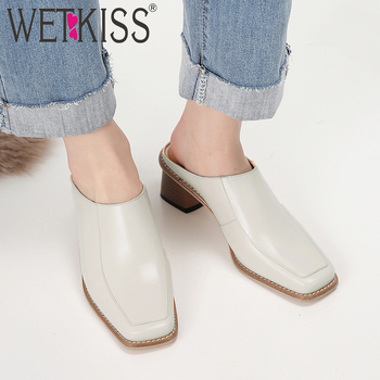 WETKISS Cow Leather Slippers Women Summer 2019 New Slides Shoes Fashion Casual Mules Shoes Female Wood High Heels Shoes Ladies