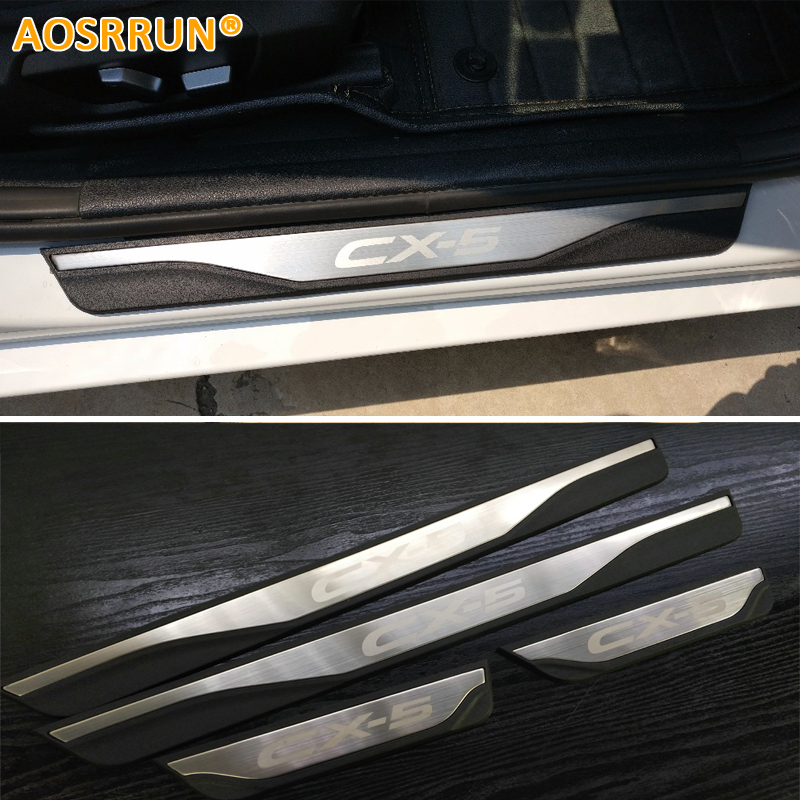 AOSRRUN Free Shipping ABS And Stainless steel Scuff Plate Door Sill For Mazda CX-5 CX5 SKYACTIV 2015 2016 2017 1 piece stainless steel rear trunk sill rear inner scuff protector cover plate for mazda cx 5 cx5 2nd gen 2017 2018 accessories