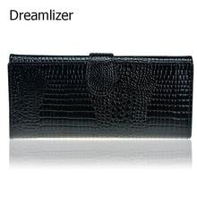 3 Fold Genuine Leather Women Wallet Hasp Crocodile Female Clutch Purse Brand Leather Money Bag Wallet Women Card Holder