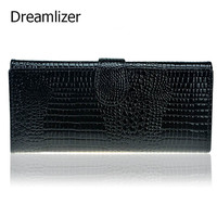 3 Fold Genuine Leather Women Wallet Hasp Crocodile Female Clutch Purse Brand Leather Money Bag Wallet