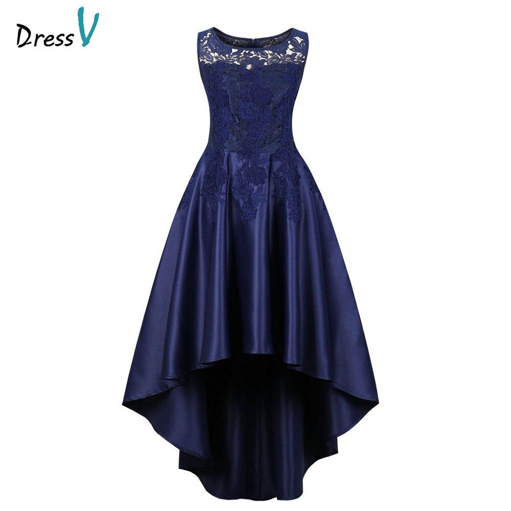 Dressv dark navy   evening     dress   cheap scoop neck lace a line sleeveless floor length wedding party formal   dress     evening     dresses