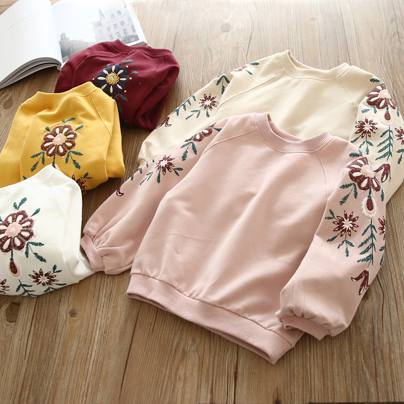 Fashion New Baby Girls Sweatshirts Tops Long Sleeves Pullover Embroidery Cotton Casual Chidren Girls Clothing