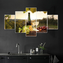 Laeacco 5 Panel Wine Cellar Vineyard Posters and Prints Wall Artwork Canvas Painting Kitchen Home Living Room Decoration