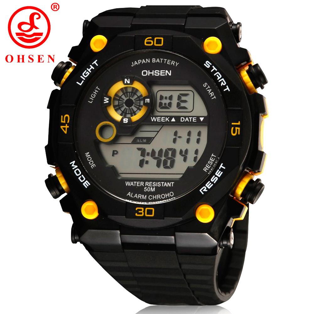 Prix pour 2017 nouveau hommes sport montres ohsen marque alarme chronographe numérique led en plein air robe montre-bracelet militaire montre relogio masculino