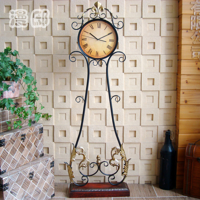 Iron Man Di European Retro Living Room Floor Standing Clocks Watches Stand  Mute Grandfather Clock Bell