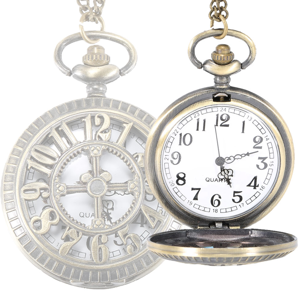 Birthday Gift Watch Vintage Hollow Cross Digital Pocket Watch Steampunk Necklace Pendant Fob Watches Gifts For Father LL@17 cindiry retro steampunk black hollow design quartz pocket watch necklace antique pendant watches for women vintage gift p10