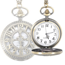 Birthday Gift Watch Vintage Hollow Cross Digital Pocket Watch Steampunk Necklace Pendant Fob Watches Gifts For Father LL@17(China)