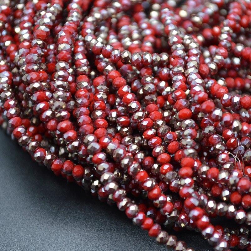 Половина красный и половина серебристый цвет 2 мм граненый Стекло Кристалл Rondelle Loose Бусины DIY ювелирных материалов для изготовления 10strands за лот