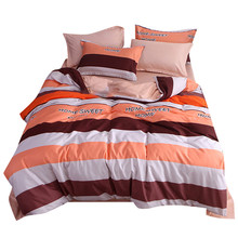 Four-Piece Quilt Cover Striped Full-SizePrincess lace sheet lace bedskirt bed mattress cover and pillowcas warm quilted padded