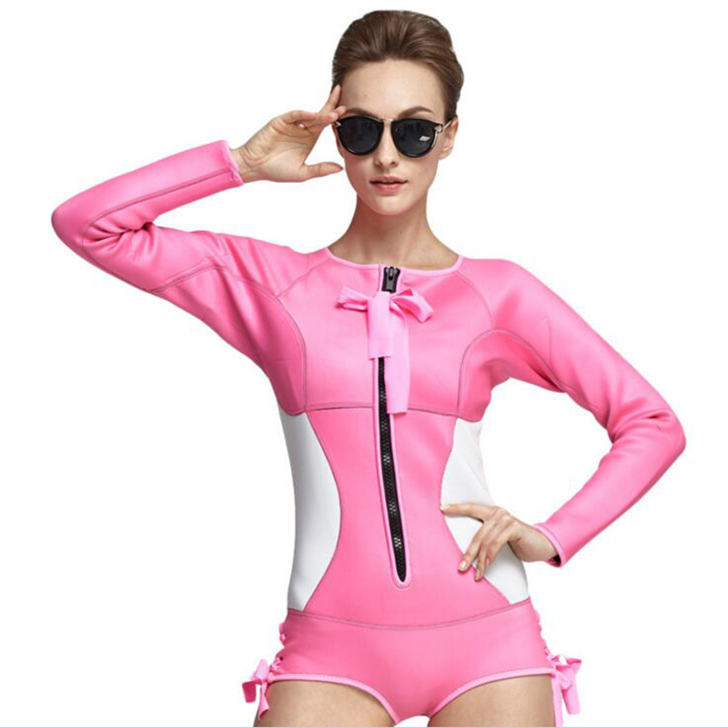 2018 2MM Neoprene Diving Wetsuit Tops Women 's Swim Shirt Long Sleeve Surfing Jacket Beach Surf Waarm Jacket Swimwear Wet Sui high quality cortex 3 5mm surf diving wet suits jacket men women surfing diving spearfishing wet suit long sleeve jacket wetsuit
