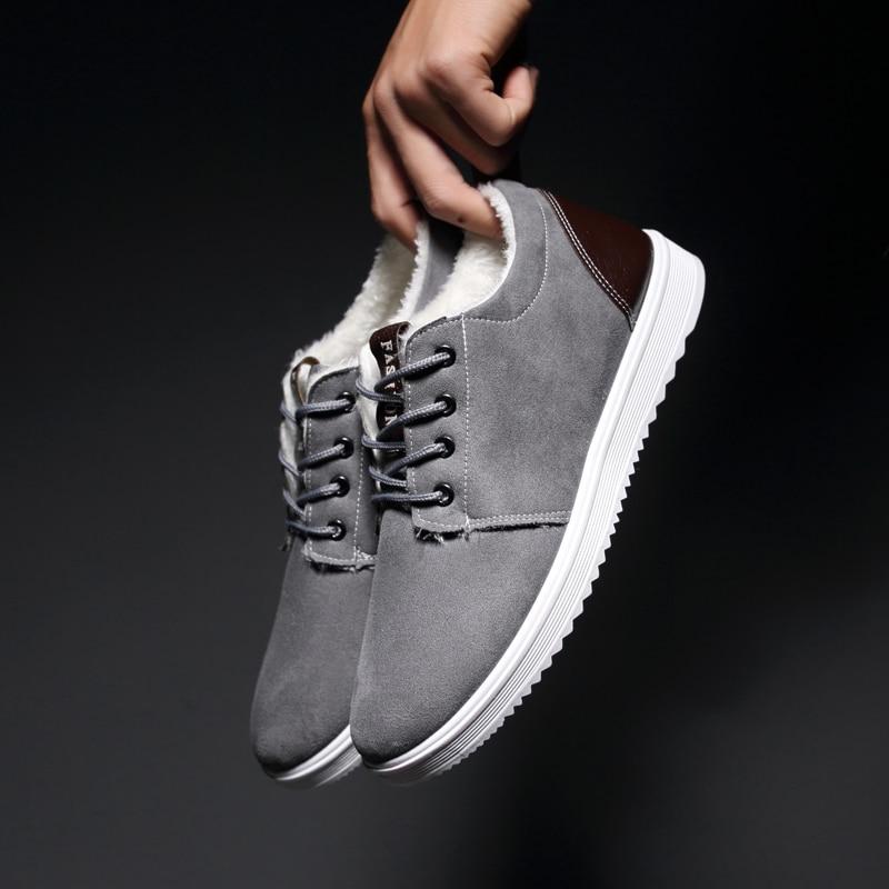 Hard Hiver Garder Hommes gris Chaussures porter marron Dentelle Avec Velours 2018 Casual Au Solide bleu Lumière Mens Up Mazefeng De Chaud Noir 6qSn5ES41