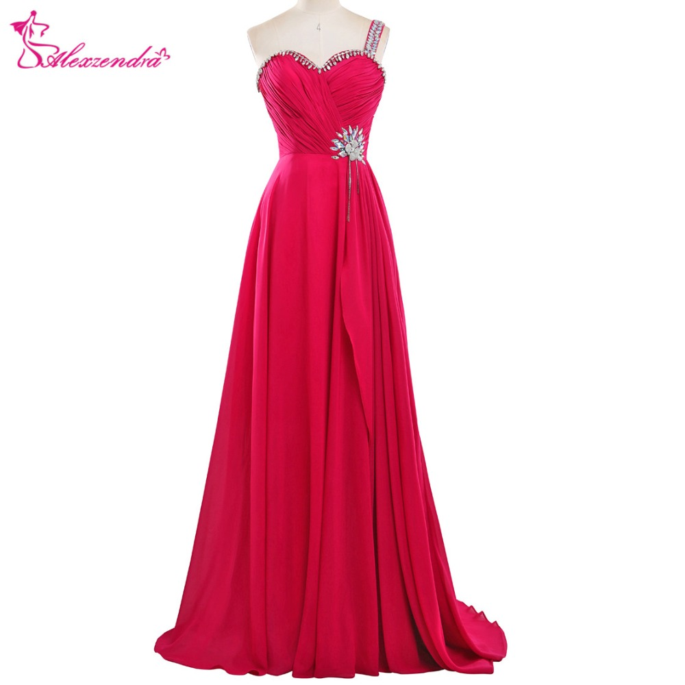 Alexzendra Chiffon Red Long A Line One Shoulder   Prom     Dresses   with Straps Sweetheart Beaded Long Party   Dress