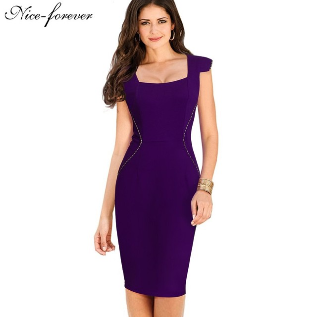 Nice-forever Ladylike Elegant Square Neck Knee length Work Office Slim Casual Pencil Sheath Bodycon Solid Woman Dress B312