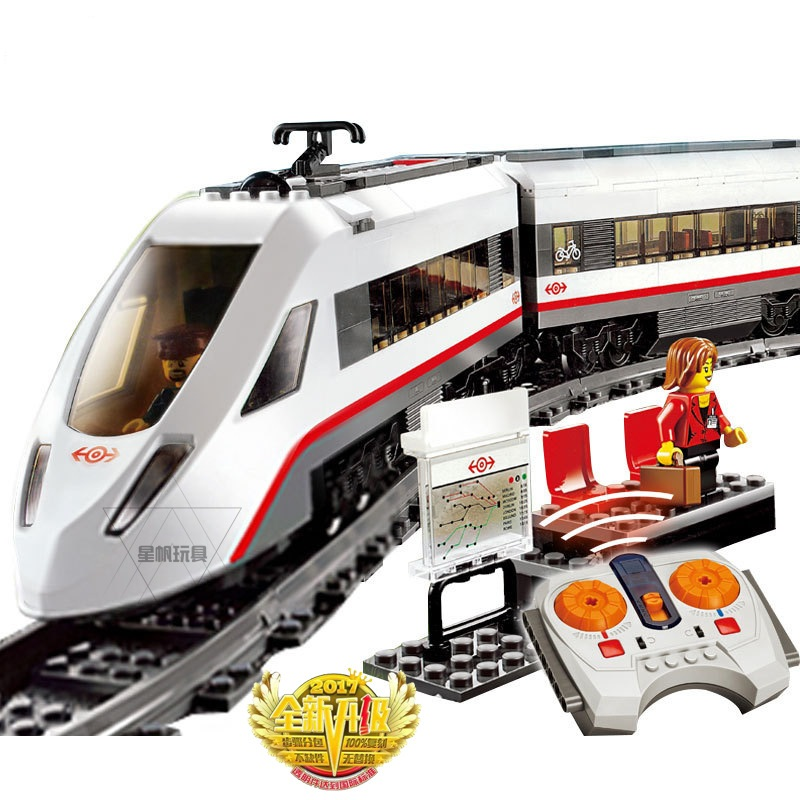 02010 LEPIN City Trains High-Speed Passenger Train Building Blocks Enlighten Figure Toys For Children Compatible Legoe 60051 lepin 02025 city the high speed racer transporter 60151 building blocks policeman toys for children compatible with lego