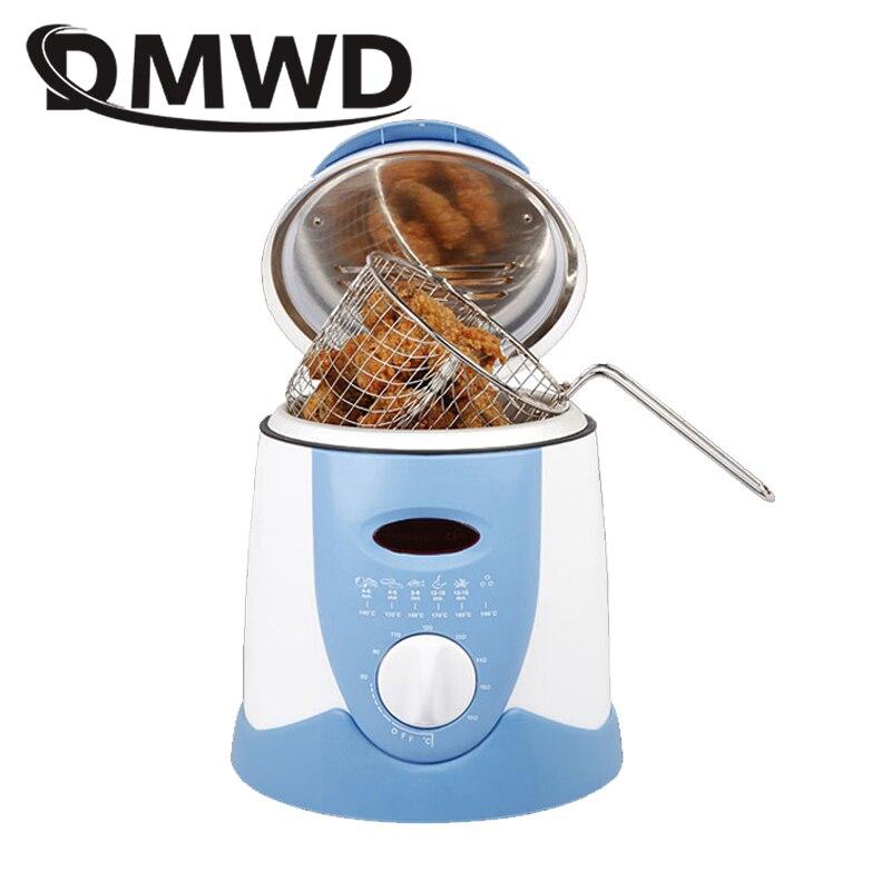DMWD Senza Fumo padella multifunzionale pan 0.9L Mini elettrico friggitrice olio forno patatine fritte Pollo Griglia Pesce Fritto Pot macchina UE