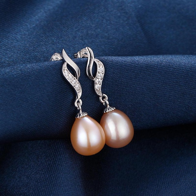 925 Sterling Silver Natural Freshwater Pearl Earrings with Zircon Crystals