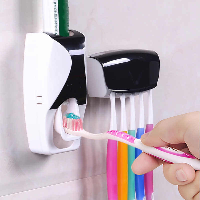 Plastic Creative Automatic Wall Mount Rack Bathroom Supplies Toothpaste Dispenser Tooth Brush Holder Bathroom Accessories Set