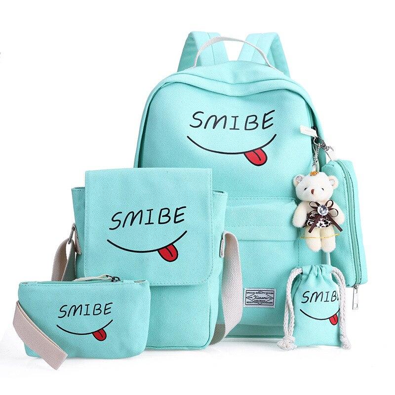 6 компл. школьный рюкзак мешок печати студенты Bookbag Для женщин холст мешок школы Молодежные Девушки с Кошелек медведь Mochila сумки на плечо