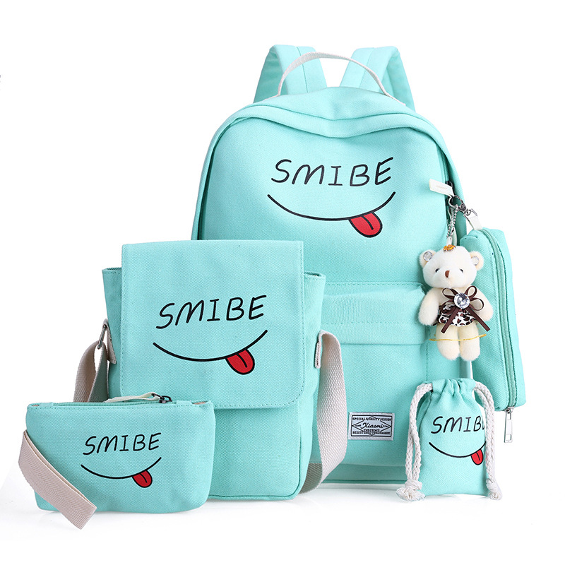 6 Set School Backpack Bag Printing Students Bookbag Women Canvas School Bag    Youth Girls With Purse Bear Mochila Shoulder Bags