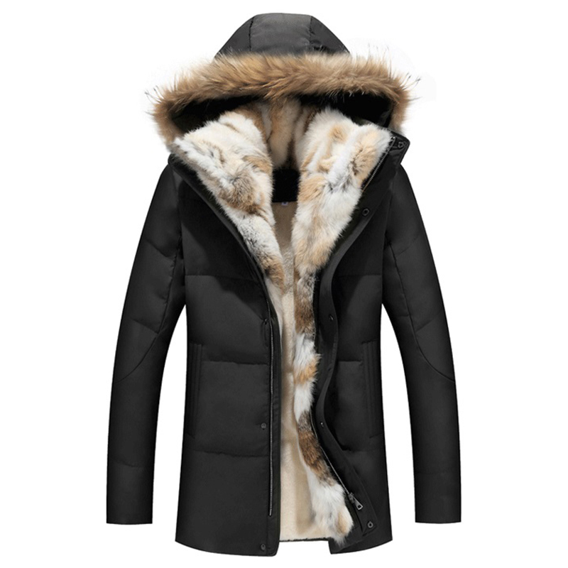 2017 North Down Men Winter Jackets Mens Duck Down Coat Cashmere Fleece Parka Man Jacket Coat Genuine Fur Hooded Parkas for Men