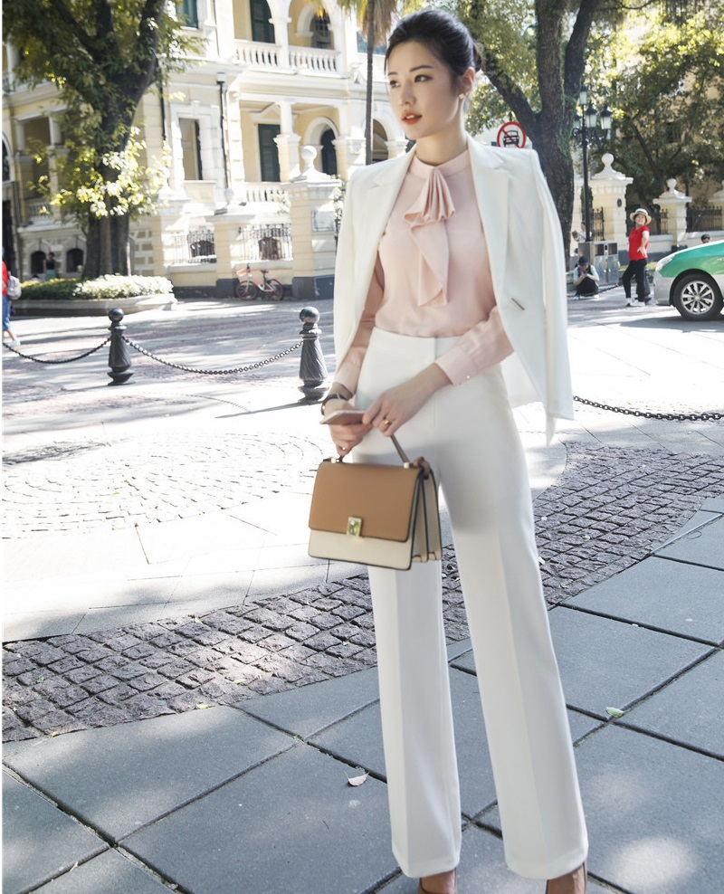 Ladies White Fashion 2018 Autumn Winter Formal Women Business Suits With Big Pants And Jackets Sets OL Styles Pants Suits