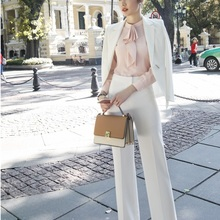 Ladies White Fashion 2018 Autumn Winter Formal Women Business Suits With Big Pan