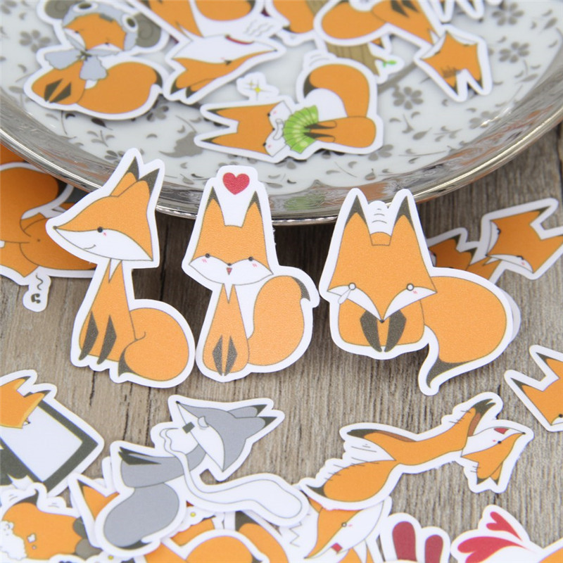40 Pcs/lot Funny Little Fox DIY Decorative Paper Sticker Decal For Phone Car Laptop Album Diary Backpack Kids Toy Stickers