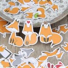 40 stks/partij Grappige kleine vos DIY Decoratief papier Sticker Sticker Voor Telefoon Auto Laptop Album dagboek Rugzak Kids Speelgoed Stickers