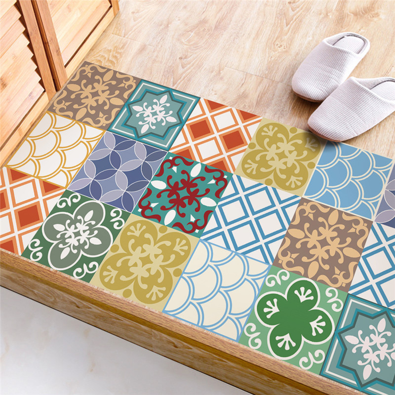 Colorful imitation ceramic tile sticker Kitchen Study Room waterproof non slip wear resistant floor stickers Home decoration