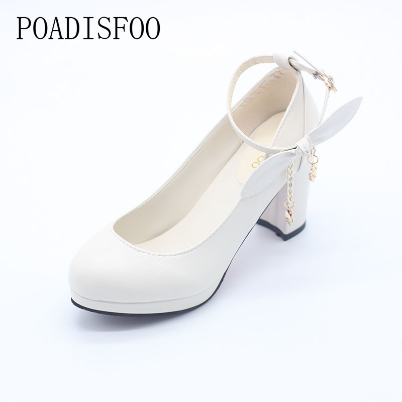POADISFOO 2017 Shoes Women Spring and Autumn new princess  high-heeled shoes shallow mouth with the  round bow ladies .DFGD-991 купить