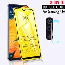 Vidro temperado 9d 2 em 1 para samsung galaxy, vidro temperado cola completa com tela para samsung galaxy a50 película de segurança sm a505f