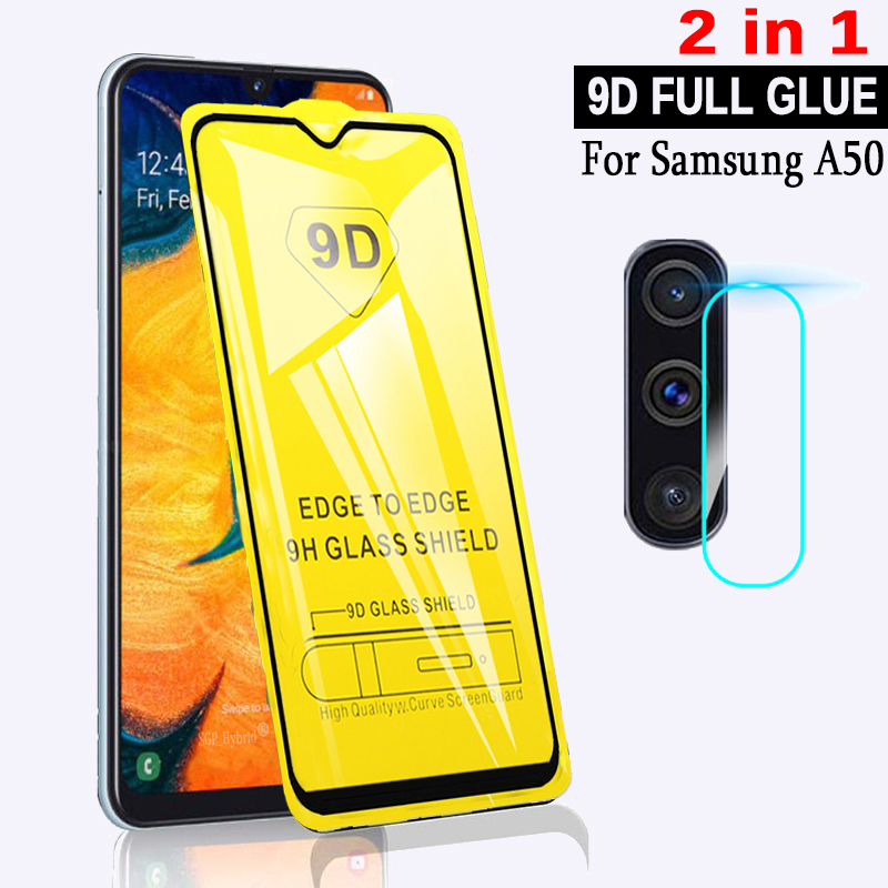 2 in 1 9D For Samsung Galaxy A50 Tempered Glass Full Glue Glas On Samsun A50 A 50 Samsung Screen Protector SM A505F Safety Film