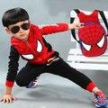 Conjuntos de roupas meninos meninas de natal Spiderman crianças com capuz casacos + calças + desenhos animados mochila Vetement Enfant Fille