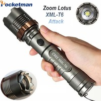 4200 Lumens Ultra Bright 5 Modes XML T6 Zoomable LED Flashlight Lotus Attack Head Waterproof Torch