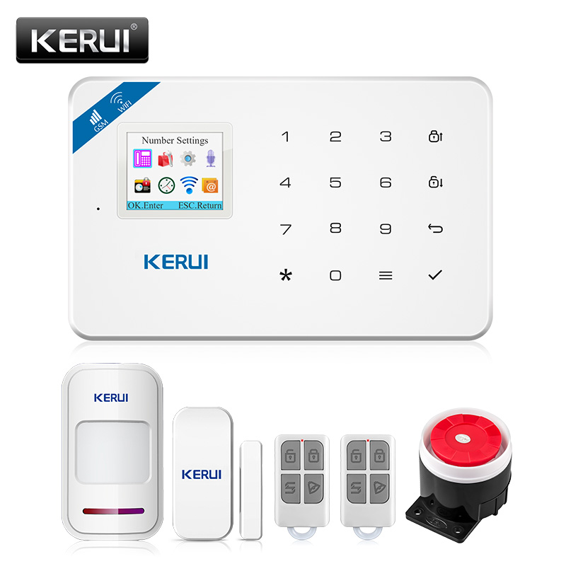 KERUI W18 pantalla TFT de 1,7 pulgadas WIFI GSM antirrobo casa Sistema de alarma de seguridad Detector de movimiento de la aplicación de Control de fuego Detector de humo alarma