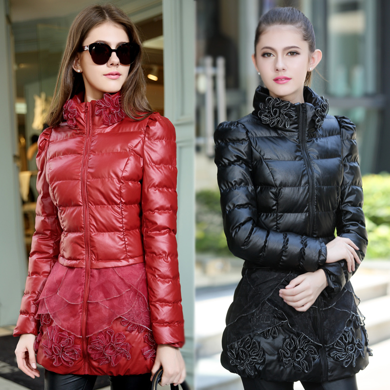 2014 New Medium-Long Korean Slim Pu Leather Thick Warm Winter Cotton Jacket Ladies Turtleneck Lace Print Pleated Down Coat H2019