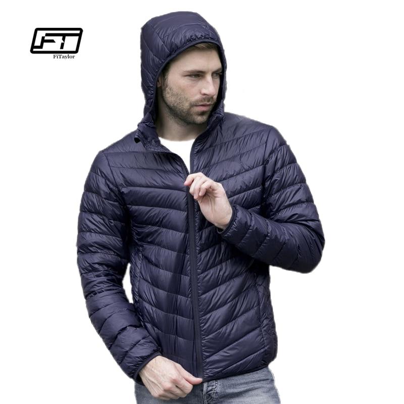 Новый на осень-зиму ультра-тонкий утка вниз мужчины куртка Большие размеры XXXL куртка с капюшоном для мужчин модная мужская верхняя одежда, п...