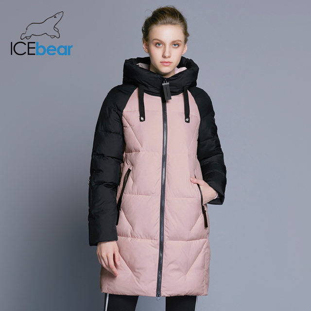 ICEbear 2018 New Women Winter Jacket Hooded Jacket Women Contrast Color Mid-Long New Women's Cotton Coat To Knee 17G637D
