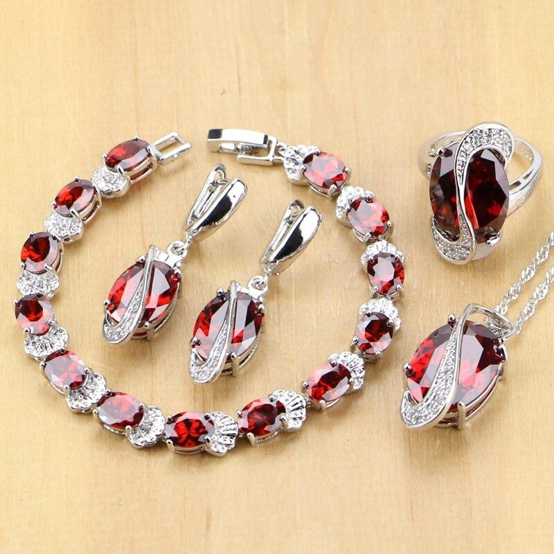 925 Sterling Silber Schmuck Red Zirkonia Weiß CZ Schmuck Sets Für Hochzeit Ohrringe/Anhänger/Halskette/Ringe /armband T224